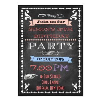 Retro Chalkboard Kids Birthday Party Invitations