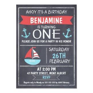 Nautical Chalkboard 1st Birthday Invitation