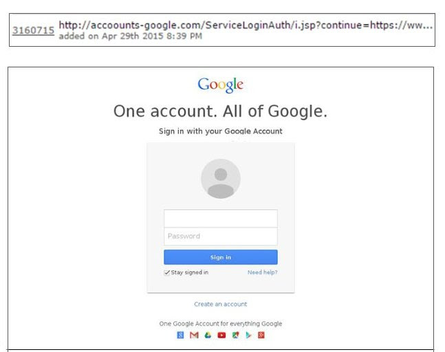 Google Acco<b><u>o</u></b>unt Phishing WWW site image