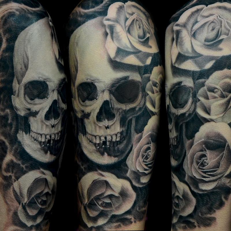 Pictures Of Skull And Rose Tattoos Kidskunstinfo