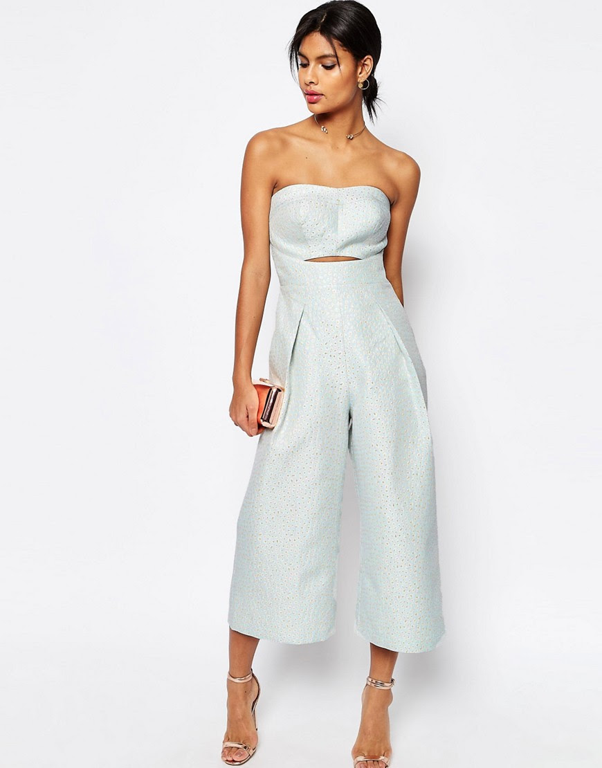 Image 1 of ASOS Premium Bandeau Jumpsuit in Jacquard with Cutout Front