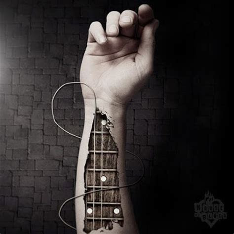 runs veins guitar tattoo arm
