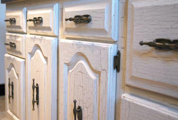 crackle paint kitchen furniture ideas   crafty   Pinterest