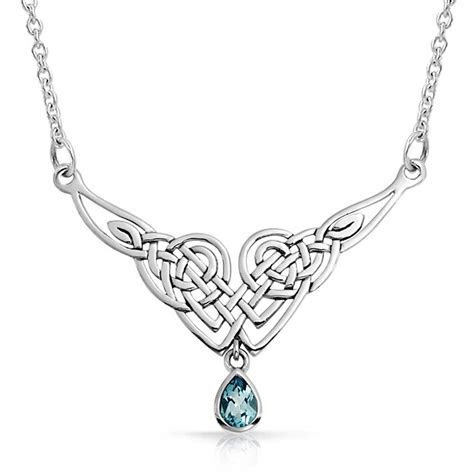 Sterling Silver Celtic Knot Color Teardrop Pendant Necklace