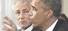 Chuck Hagel con Obama