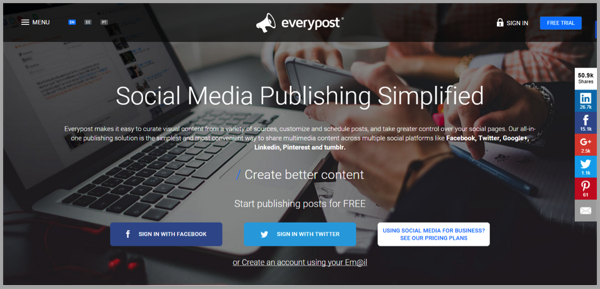 Everypost - example of social media management tools