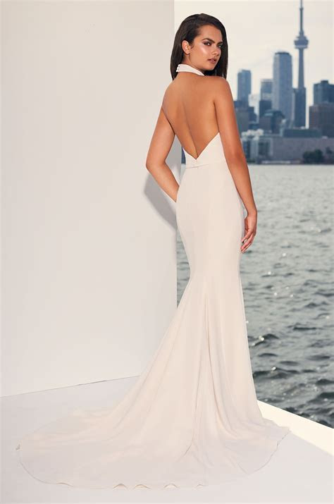 Halter Top Crepe Open Back Fit And Flare Wedding Dress