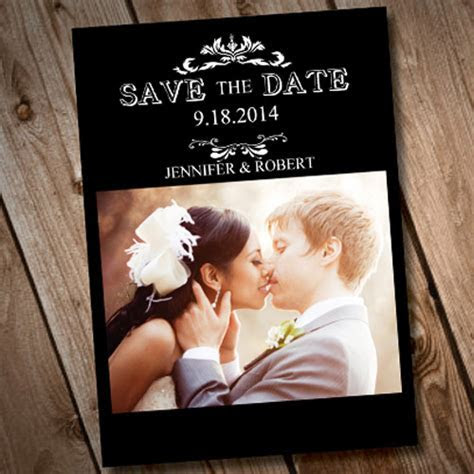 cheap black and white save the date with photo online
