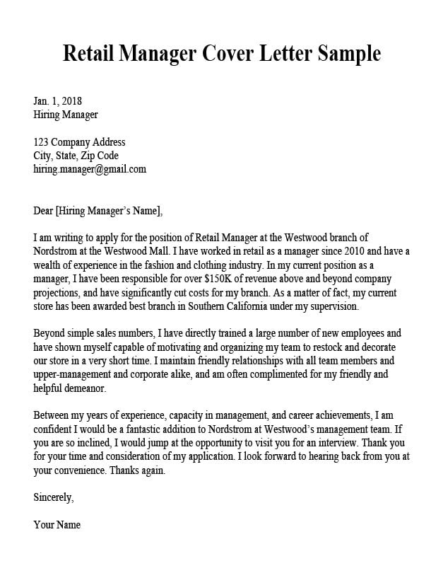 Application Letter For Manager In Hotel, Retail Manager Cover Letter, Application Letter For Manager In Hotel