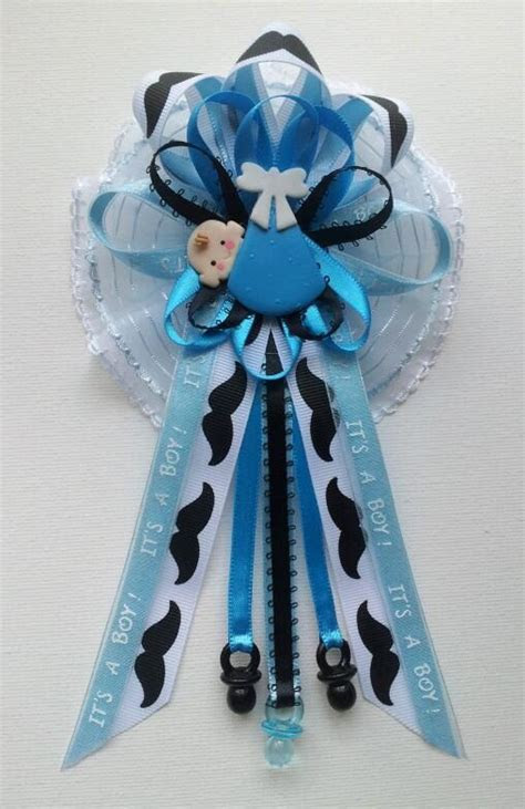 mustache theme mommy baby shower corsage  baby  blue