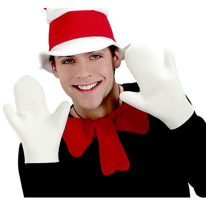Adult Cat in the Hat White Costume Gloves