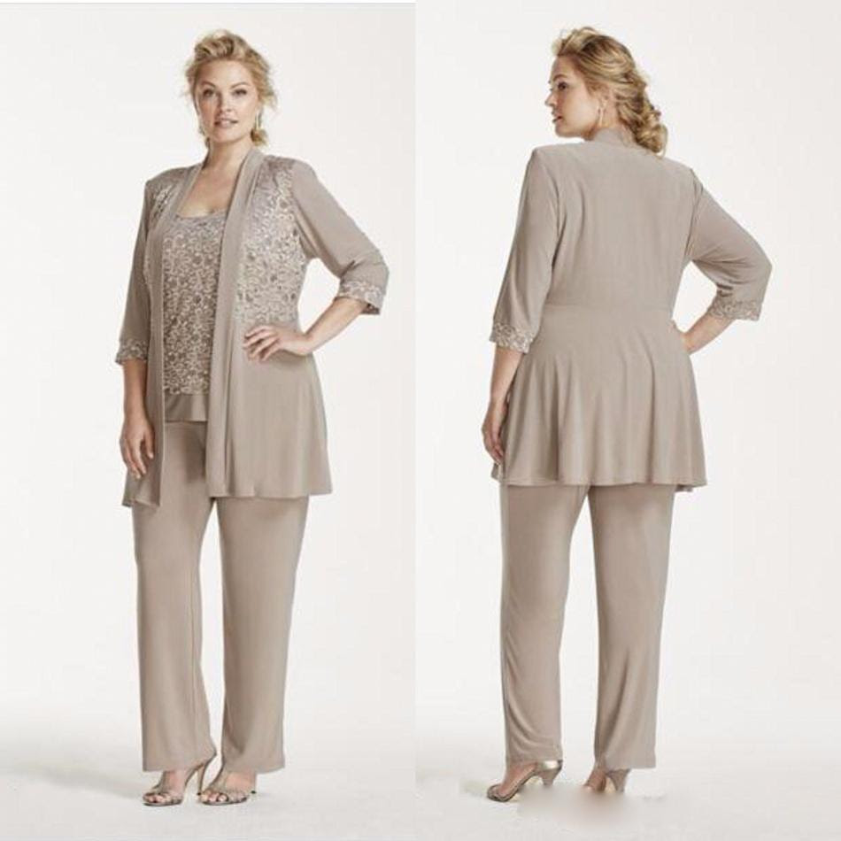 2016 new gray lace pants suits for mother of the bride