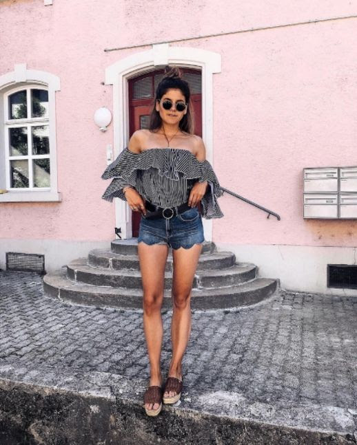 Le Fashion Blog Summer Outfit Ruffled Off Shoulder Printed Top Scalloped Denim Shorts Slide On Chunky Shoes Via @thefashionfraction