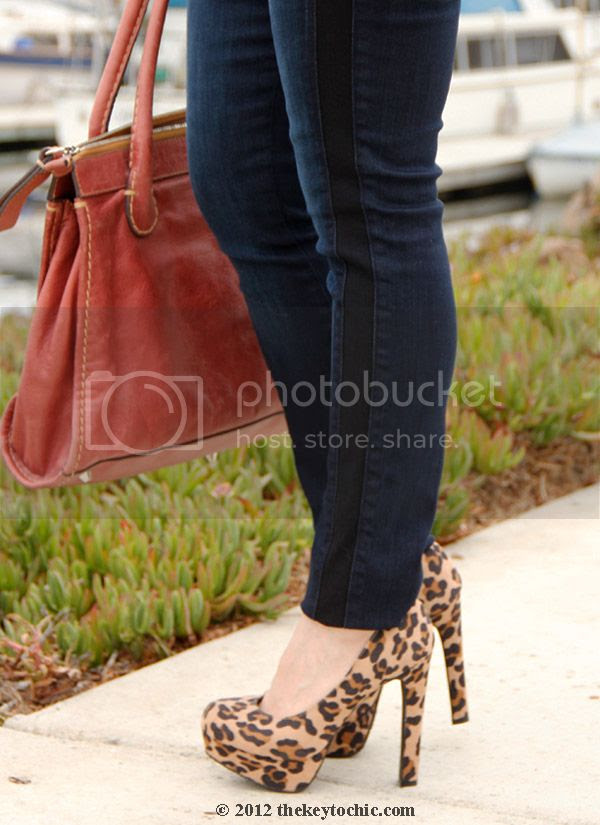 7 for all mankind skinny side stripe jeans, Mossimo Paisley leopard print pumps, Chloe Edith handbag in whiskey, Los Angeles fashion blog