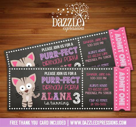 Printable Kitten Chalkboard Ticket Birthday Invitation