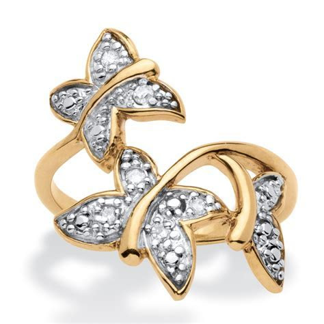 Diamond Accent Butterfly Ring in 18k Gold over Sterling