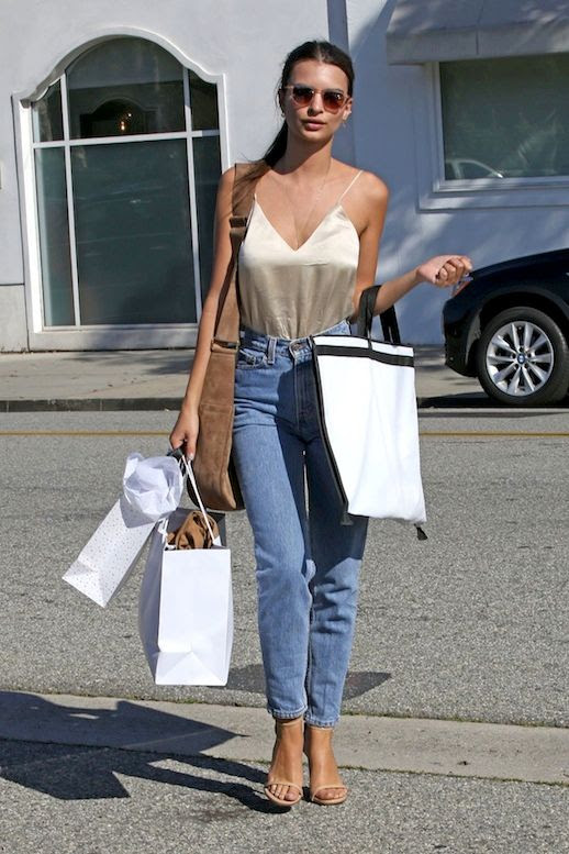 Le Fashion Blog Model Style LA Cool Look Emily Ratajkowski Sunglasses Silk Cream Camisole Tucked Into High Waisted Vintage Denim Brown Suede Shoulder Bag Body Chain Nude Flat Sandals Via Hawt Celebs