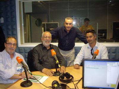 En un coloquio de Canal Sur Radio coinciden, de izquierda a derecha, Carlos Perales (PSOE), Cecilio Gordillo (CGT), Rafael Guerrero y Juan Francisco Arenas (PCA).