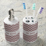 Personalize: Marsala Gingham Check Pattern Toothbrush Holders