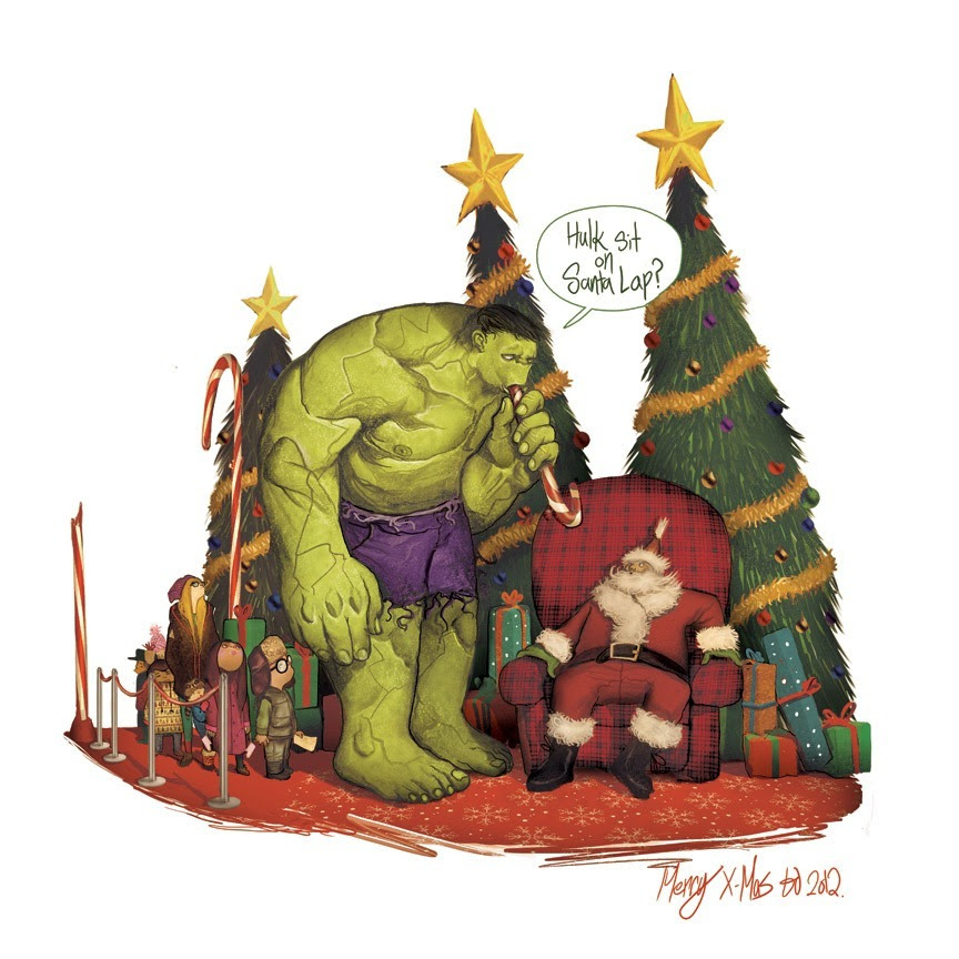Hulk Sit on Santa