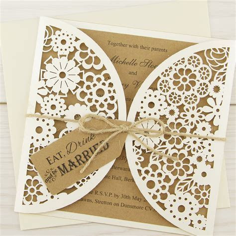 Laser Cut Eat, Drink and Be Married Wedding Invitation