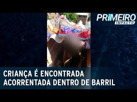 VEJA VÍDEO: POLÍCIA RESGATA MENINO DE 11 ANOS TRANCADO DENTRO DE BARRIL PELO PAI