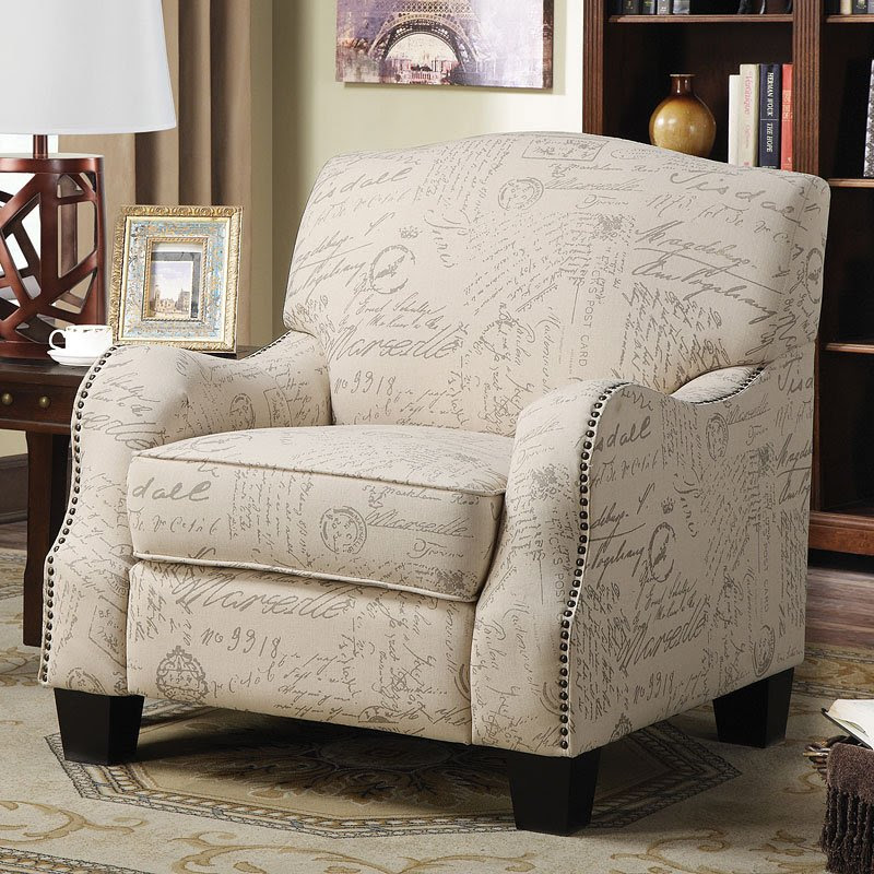 Cream Accent Chair w/ French Script Print - Accent Chairs ...