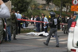Victims at scene of Jerusalem terror ramming. Photo: Israelphoto