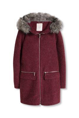 Esprit / Parka de lana con capucha y cremallera
