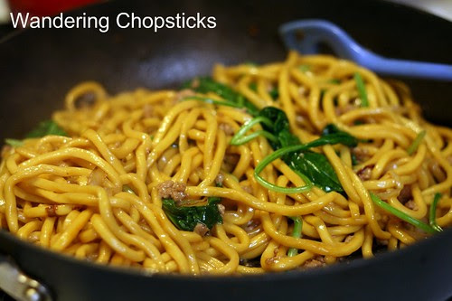 Shanghai Noodles with Ground Pork, Spinach, and Onions 9