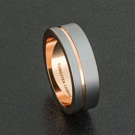 mens wedding band mm white tungsten ring brushed