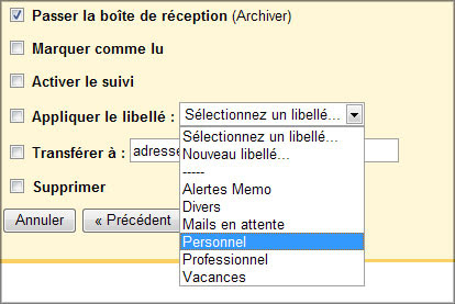 Actions de filtre Gmail
