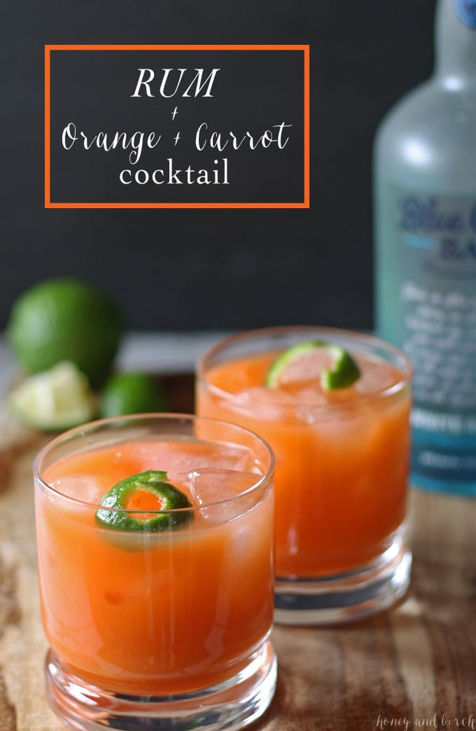 Rum Carrot Orange Cocktail | www.honeyandbirch.com #drink #cocktail #blogtender