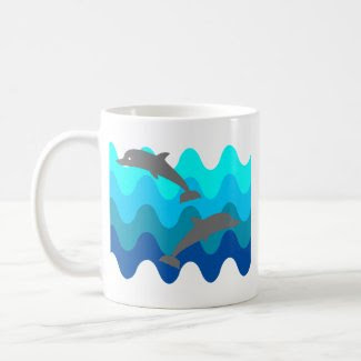 Two Dolphins With 4-Color Stylized Waves mug