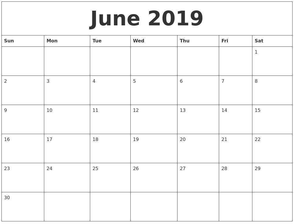 june 2019 free printable blank calendar