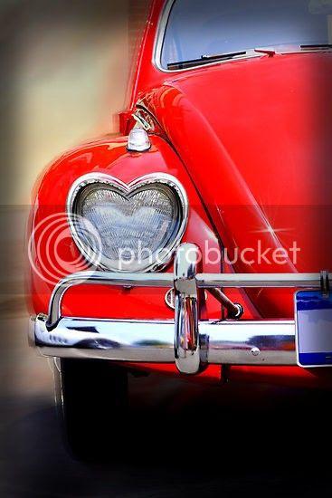 cuore, maggiolino rosso