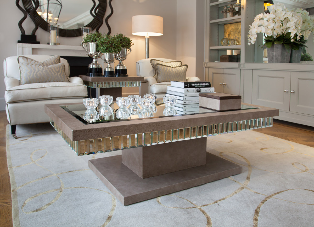 Mirrored Coffee Table Tray   Roy Home Design