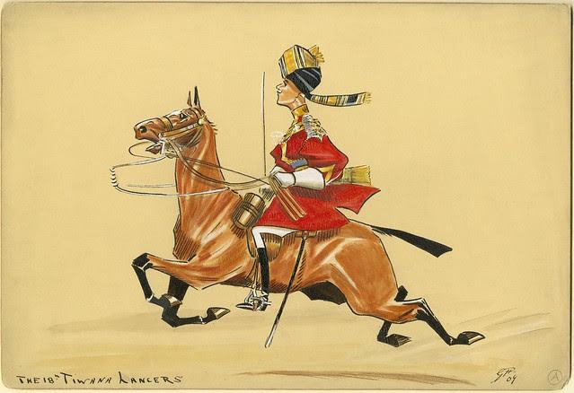 turban-wearing lancer soldier on horseback - caricature / satirical sketch