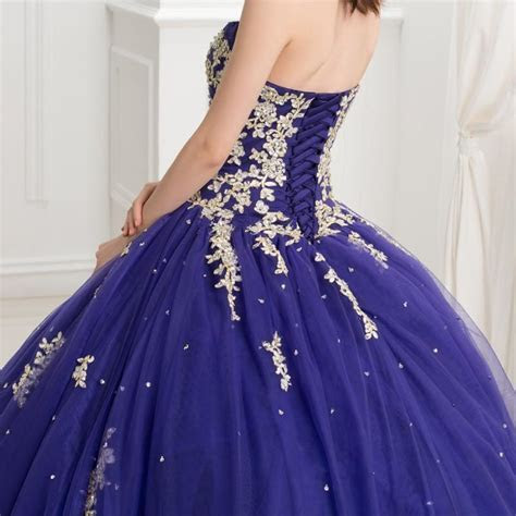 Dark Royal Blue Ball Gown Quinceanera Dresses With Gold