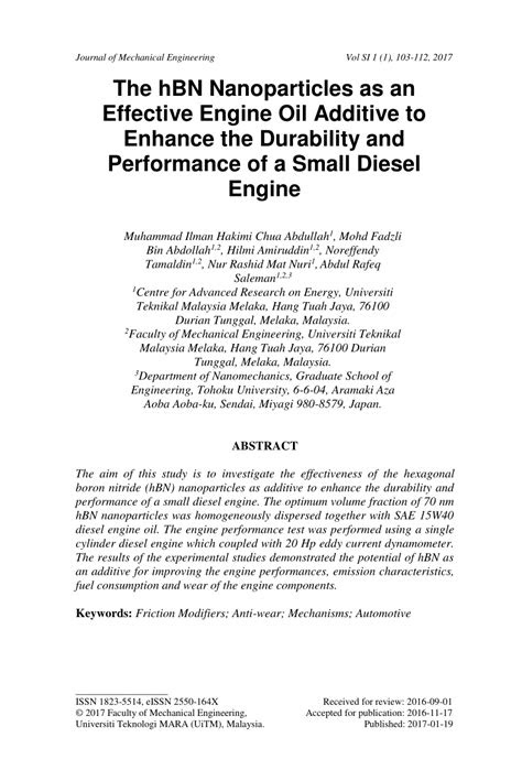(PDF) The hBN Nanoparticles as an Effective Engine Oil