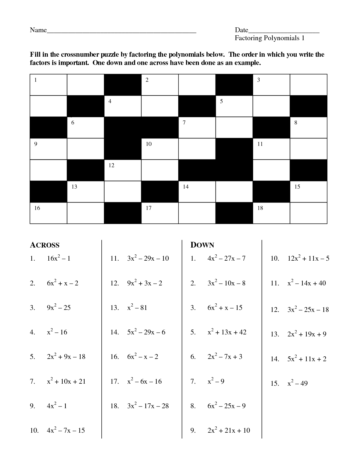 crossword puzzle fraction worksheets_26737