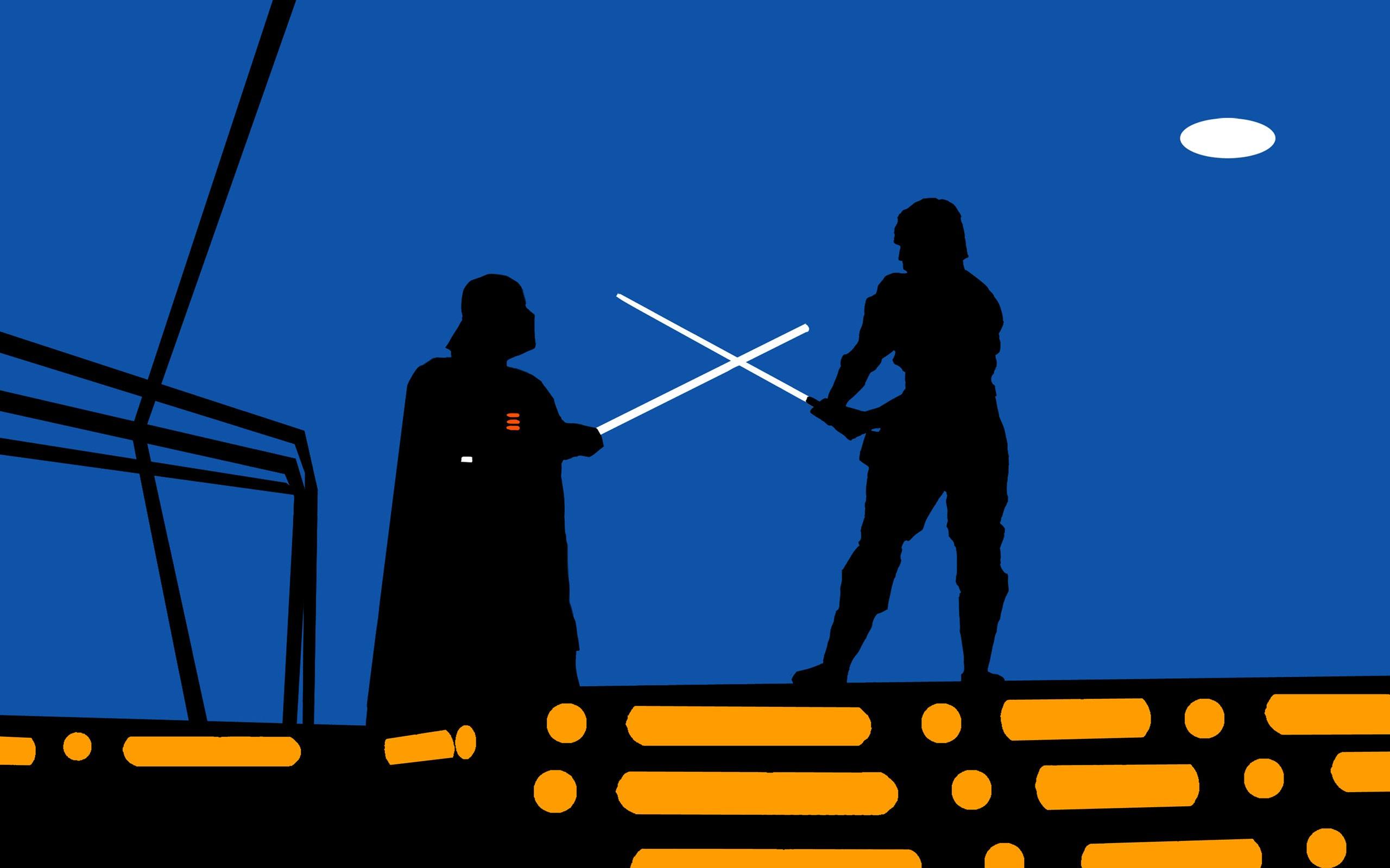 Star Wars Minimalism Darth Vader Luke Skywalker Fighting