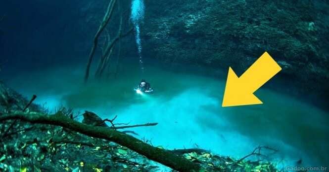 Mergulhador descobre rio embaixo d'água