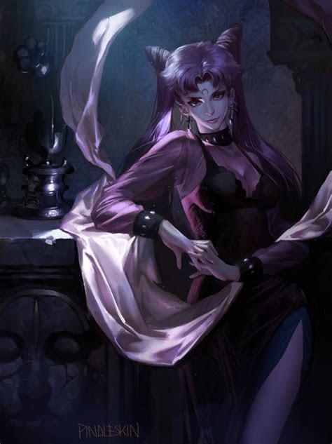wallpaper sailor moon black lady twintails black dress red eyes artwork semi realistic