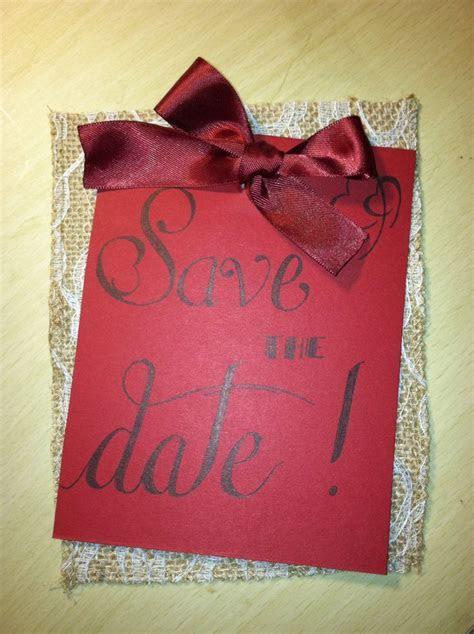 Handmade, hand written Save the Date invitation. Burlap