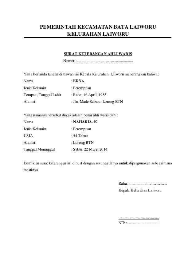 Contoh Surat Akta Ahli Waris Contoh Surat
