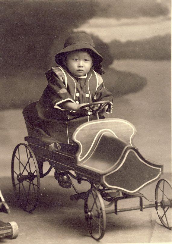 +~+~ Antique Photograph ~+~+ Japanese boy on elaborate pedal car. c. 1920. ....♡♥♡♥♡♥Love it