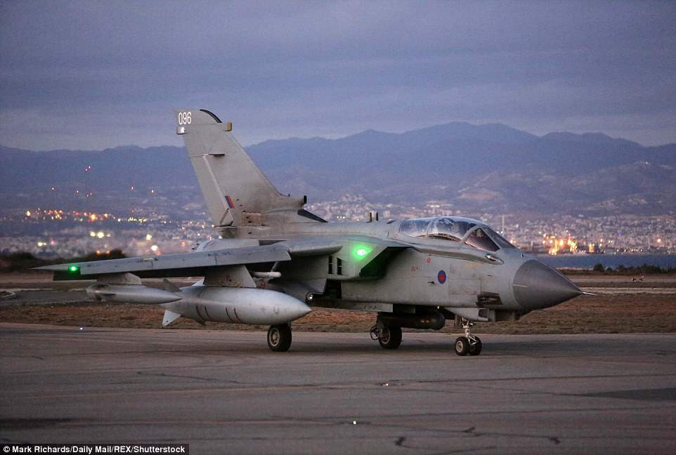 Tornado and Typhoon jets flew into RAF Akrotiri on Cyprus (pictured) in advance of the strikes on Syria in the early hours of this morning UK time