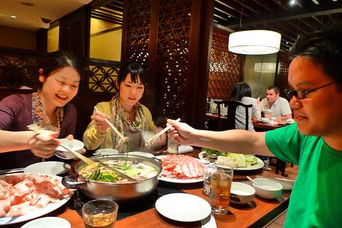 Maiko, Iyo and I, taking hot pot food
