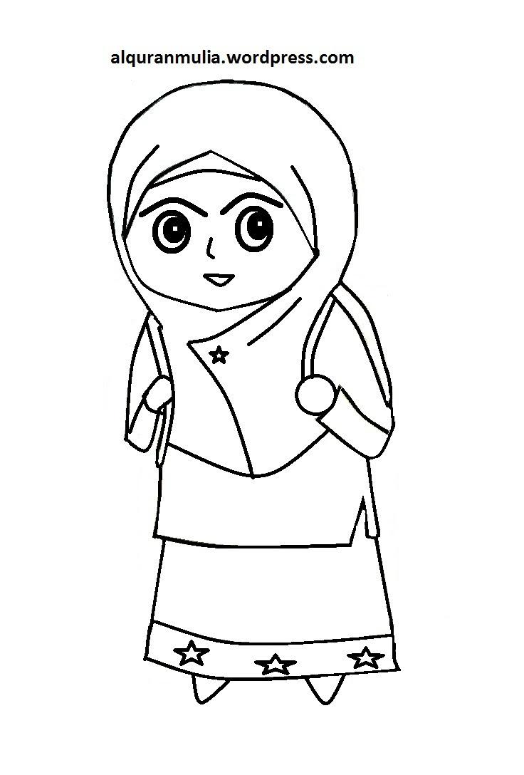 Gambar Sketsa Gambar Kartun Anak Muslim Koleksi Mewarnai Classy World